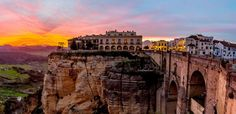 """ronda's spectacular sunset with the with the \new bridge\"""". ronda provence of malaga andalusia spain. National Geographic, Ronda Malaga, Travel Around The World, Around The Worlds, Places To See, Travel Destinations, Stock Photos, City, Ronda Spain"""