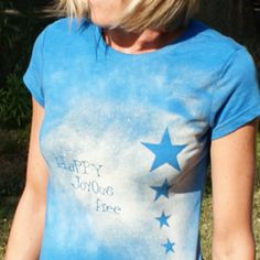 Upcycle an old T-shirt with custom text and designs using bleach and contact paper.  This project is easy and takes less than 30 minutes!