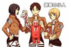 Browse Mikasa Ackerman Eren Jaeger Armin Arlert collected by Midori and make your own Anime album. Armin, Eren X Mikasa, Attack On Titan Comic, Attack On Titan Fanart, Annie Leonhardt, Chibi, Tiny Titans, Female Titan, Pokemon