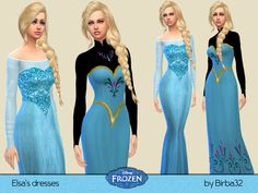 The Sims Resource: Frozen - Elsa's dresses by Birba32 • Sims 4 Downloads
