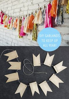 Holiday and season themed garlands are great, but what about a great garland you can keep up year round? Here are 15 awesome DIY garlands to make and keep up all year!