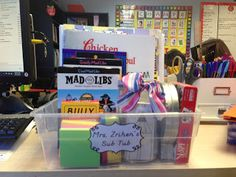 A Teacher's Treasure: Set up for a Sub -  Sub Tub!........I should make up one of these as a homeschool mom for sick days in the home.  Kids are independent enough, they could find the items for themselves if mom has a sick day or has to tend to someone else who is sick.