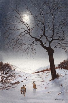 Wait For Me Hares in the Moonlight by janayart on Etsy...............lbxxx.