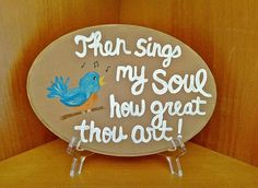 Wood Lyrics Sign, Then Sings my Soul Wood Sign, How Great Thou Art Sign, Christian Song Lyrics Wall Art, Hymn Wall Art, Wood Oval Plaque Christian Song Lyrics, Then Sings My Soul, Art Sign, Lord And Savior, Wood Signs, Singing, Decorative Plates, Great Gifts, Shops
