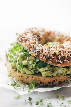 Avocado egg salad + bagel.