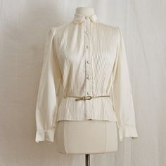 1950s Blouse  Pleated Tux / Button Down /  by SalvatoCollection,