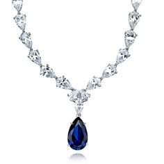 130f27b79 Crislu Necklace, Platinum Over Sterling Silver Blue and Clear Cubic Zirconia  Drop Necklace ct.