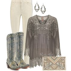 Shades of Gray by rodeo-chic on Polyvore. Tunic by @johnnywas, earrings by @AlexisBittar, boots by Corral @corralboots