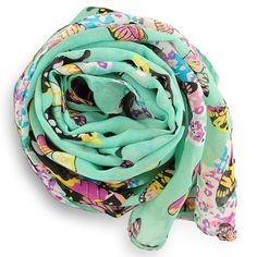 """REDUCEDChiffon mint butterfly scarf Please choose color:  mint,  hot pink, cream, pink.  Size 63 x 18"""".                               Material:   Silk, Modal, spandex. New without tag Accessories Scarves & Wraps"""