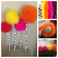 DIY Truffula Tree: Fuzzy Boa, foam ball, and floral pins for the tops, and a spray painted stick ( just out of our yard) with white spray paint and then draw on the lines with a sharpie.  So easy and turned out super cute!!!