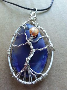 Pearl moon, geode slice, silver plated wire #tree.