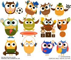 Exercise owl Digital clip art for Personal and by Giftseasonstore, $2.00