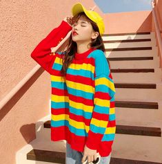 Rainbow Striped Knit Sweater sold by Tony Moly Store. Shop more products from Tony Moly Store on Storenvy, the home of independent small businesses all over the world. Fall Sweaters For Women, Cool Sweaters, Knit Sweaters, Colourful Outfits, Cool Outfits, Cute Fashion, Fall Fashion, Style Fashion, Womens Fashion