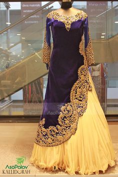 """Spell """"Beauty"""".. Shop this online : http://www.saree.com/navy-blue-and-yellow-velvet-wedding-gown-with-handwork-dcaa0117"""