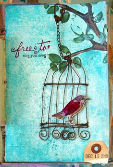 This might be my inspiration for my next canvas! I love birds and our bathroom needs a painting. I love the mixed mediums!