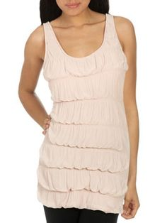 <3 love this puckered ruffle tunic.  See our site for coupon details from Arden B. $19