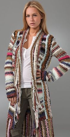 Crochet Quilt, Knit Crochet, Long Cardigan, Knit Cardigan, Tunisian Crochet Stitches, Single Crochet Stitch, Boho Fashion, Fashion Design, Pattern Fashion