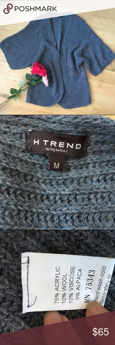 """H Trend made in Italy -like new open front sweater Iike new. Worn only once. No pilling. Belt it and wear it oversized!  Over leather leggings! Super chic style :) top to bottom this sweater is 27.5"""" long!  Awesome length. Will keep you warm. H Trend Sweaters"""