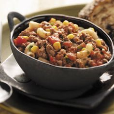 Southwestern Goulash recipe- SO GOOD! I added kidney beans and extra chilies to mine, then topped it with shredded cheddar and sour cream. So quick and easy to make and everyone loves it!