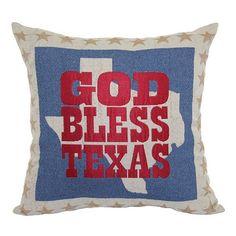 ''God Bless Texas'' Throw Pillow