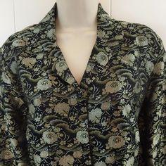 Chicos 1 Womens S M Jacket Black Silver Floral Rayon Silk Light Blazer Size 8 10 #Chicos #Blazer