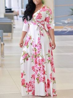 Sexy V Neck Robe Dress Half Sleeve Floral Long Dress Beach Maxi Dress – KjSelections Beach Dresses, Casual Dresses, Dress Beach, Hijab Casual, Maxi Dresses, African Fashion Dresses, Fashion Outfits, Maxi Outfits, Women's Fashion