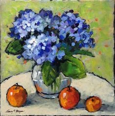 """Daily Paintworks - """"Hydrangeas and Apples"""" - Original Fine Art for Sale - © Nancy F. Morgan"""