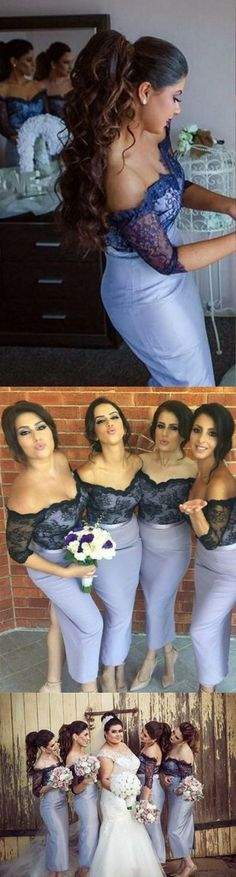 Mermaid Off Shoulder Wedding Party Dresses, Elegant 3/4 Sleeves Tea Length Bridesmaid Dress, Prom Dresses with Lace