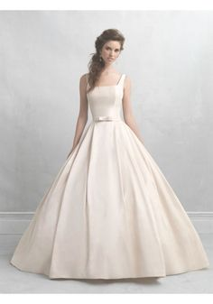 Square Neck Wedding Dress | Square Neck Court Train Satin Ball Gown Wedding Dress Aae0152