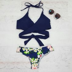 Lush Life Navy Wrap Swim Top from Cousin Couture.