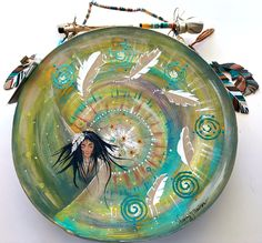 """""""DREAM DANCER"""" ~ $ 224  ~  16inch primitive drum & beater ~ designed & hand-painted by artist:  Sharon Gilbertson  (contact artist on website)  For clothing collection - follow link on website to Sharon's VIDA VOICES shop.  Thank you."""