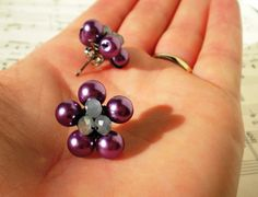 wire-wrapped pearl flowers - stud earrings - purple and gray - cluster crystal center