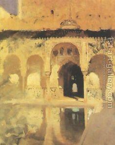 Alhambra, Patio de los Arrayanes (also known as Court of the Myrtles) - John Singer Sargent - 1879 Art Et Architecture, Beaux Arts Paris, Paintings I Love, Caravaggio, Anime Comics, American Artists, Art History, Landscape Paintings, Art Photography