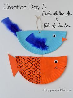 Creation Day 5 : Birds and Fish  |   A kid's craft centered around the fifth day of creation. Great for Sunday School, children's church, or VBS. This craft is a part of the Craft Through the Bible Series.