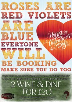 Valentines Day Poster For Sizzling Pubs
