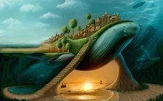 壁紙をダウンロードする クジラ, cachalot, 湾, 都市, 美術