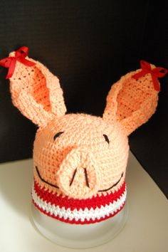 Olivia the Pig Crochet Beanie by KarliethenSOLEIL on Etsy, $25.00    @Debbie Facemire