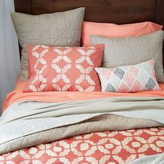 Ikat Tile Duvet Cover + Shams - Cherry Cola | West Elm