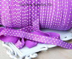 Purple Polka Dot Fold Over Elastic 5 yd 5/8 by HairbowSuppliesEtc,