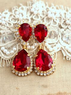 Sparkly red swarovski crystal earrings red and rose gold earrings ruby chandelier earrings red ruby earrings bridal ruby chandelier dangle earrings bridal ruby earrings swarovski chandelier earrings aloadofball Choice Image