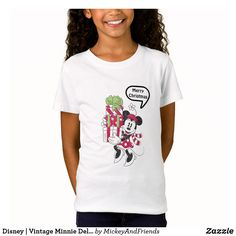 Disney Vintage Minnie Delivering Holiday Cheer T-shirt, Kids Unisex, Size: Youth XS, White Kids Christmas Outfits, Christmas Clothing, Disney Christmas, Mickey Mouse T Shirt, Minnie Mouse, Vintage Mickey, Cool T Shirts, Colorful Shirts, Fitness Models