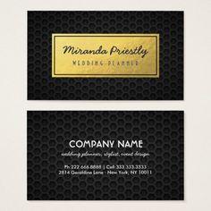 Chic Black Gold Faux Foil Dark Metal Grid Business Card