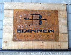 Saunzee Custom Rusty Steel Signs Barn Wood Rustic Weathered Store Front Signs Rusty Metal Business Signs Outfitter Shop Signs Brannen Signag...