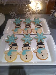 Snowman and snowflake cookies for our snow themed birthday party