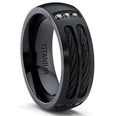 Black Titanium Men's Ring Band with Steel Cables and Black Cubic Zirconia, Comfort Fit