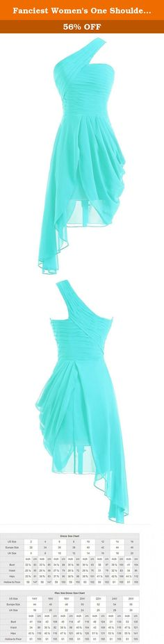 Fanciest Women's One Shoulder Turquoise Bridesmaid Dresses Short Prom Homecoming Gowns US2. This high low chiffon dress with pleat design is very lovely and eyes catching. The fabric is chiffon with light, soft, smooth and straight features, which is mostly used in women's fashionable special occasion dresses such as prom dress, girls' party dresses,Homecoming Dress es, beach party dresses.Perfect choice for evening gown and wedding bridesmaid dress. Dresses can be made according to your...