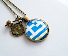 Flag of Greece Necklace  World Flag Jewelry  by OxfordBright