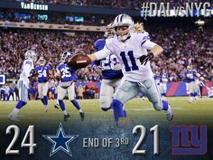End of the 3rd quarter: Cowboys 24, Giants 21. http://oak.ctx.ly/r/236kl