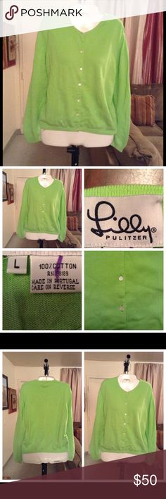 """Lilly Pulitzer Sweater Sweater is made of 100% Cotton.  Size Large. Color Green. Elastic Waist. 7 Button Closure. Arm Length """"16. Laying flat """"20.  Length """"22. This item is NOT new, It is used and in Good condition. Authentic and from a Smoke And Pet free home. All Offers through the offer button ONLY.  Ask any questions BEFORE purchase. Please use the Offer button, I WILL NOT negotiate in the comment section. Thank You😃 Lilly Pulitzer Sweaters"""
