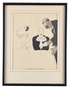 "Selkirk Auctioneers  NICOLAS ART DECO PRINT BY PAUL IRIBE (FRENCH, 1883 - 1935).  Signed in plate, pochoir illustration. From the Nicolas series titled Un Petit Peu De Blanc depicting a couple seated at a table with server pouring wine. 12.25""h. 9.75""w., framed, 18""h. 14""w.  Estimate $ 100-300"
